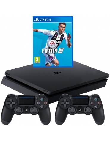 CONSOLA PS4 SLIM 500GB + FIFA 19 +2 CONTROLES